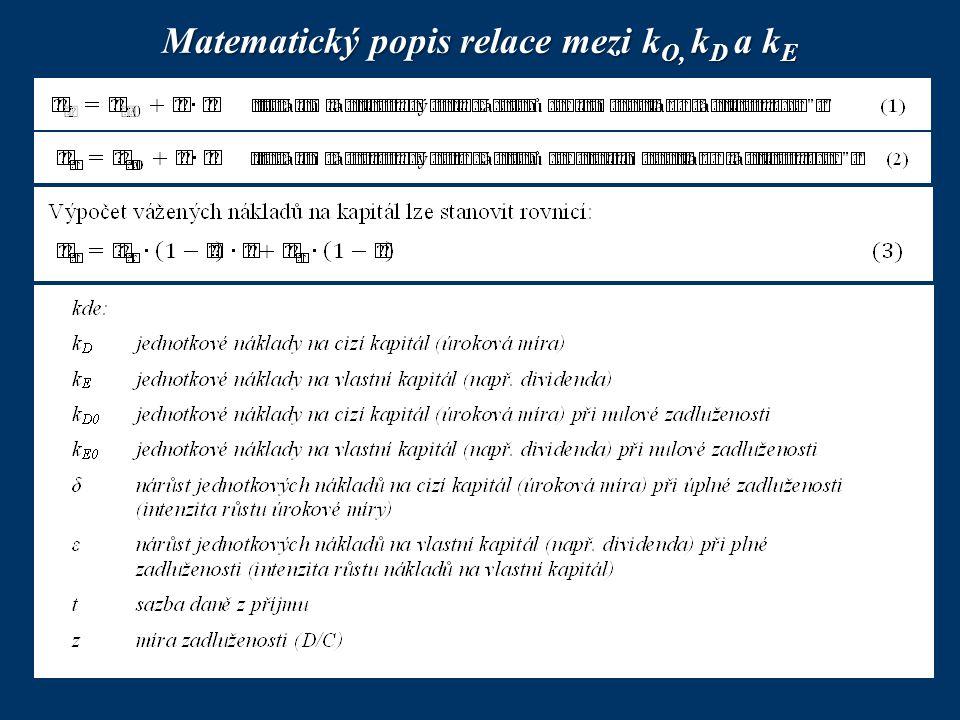 Matematický popis relace mezi k O, k D a k E