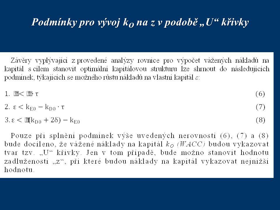 """Podmínky pro vývoj k O na z v podobě """"U"""" křivky"""