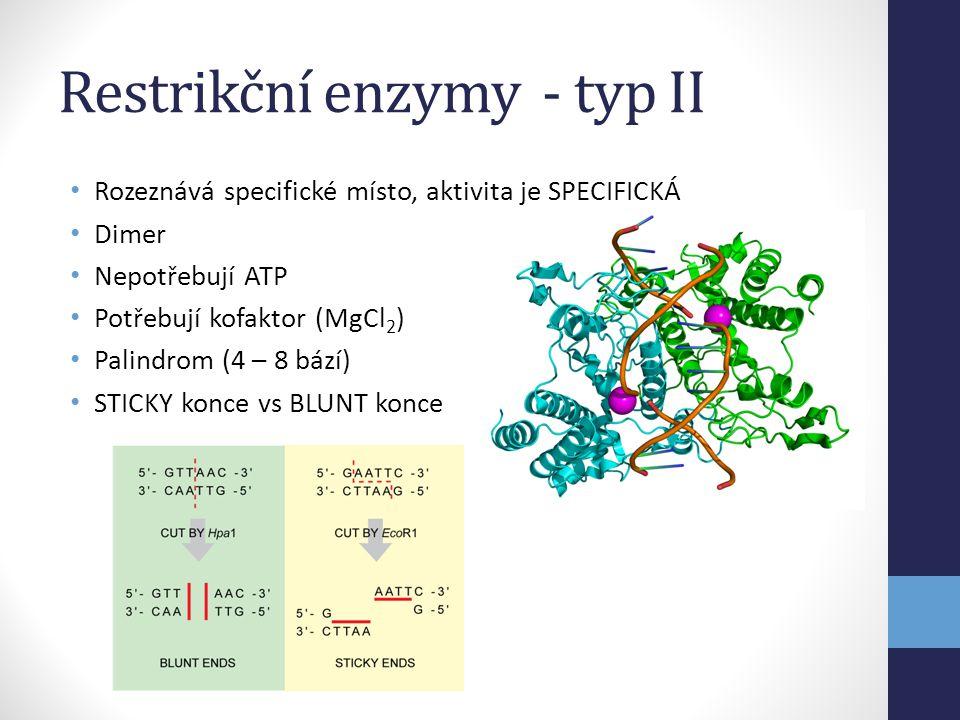Restrikční enzymy - typ II • Rozeznává specifické místo, aktivita je SPECIFICKÁ • Dimer • Nepotřebují ATP • Potřebují kofaktor (MgCl 2 ) • Palindrom (