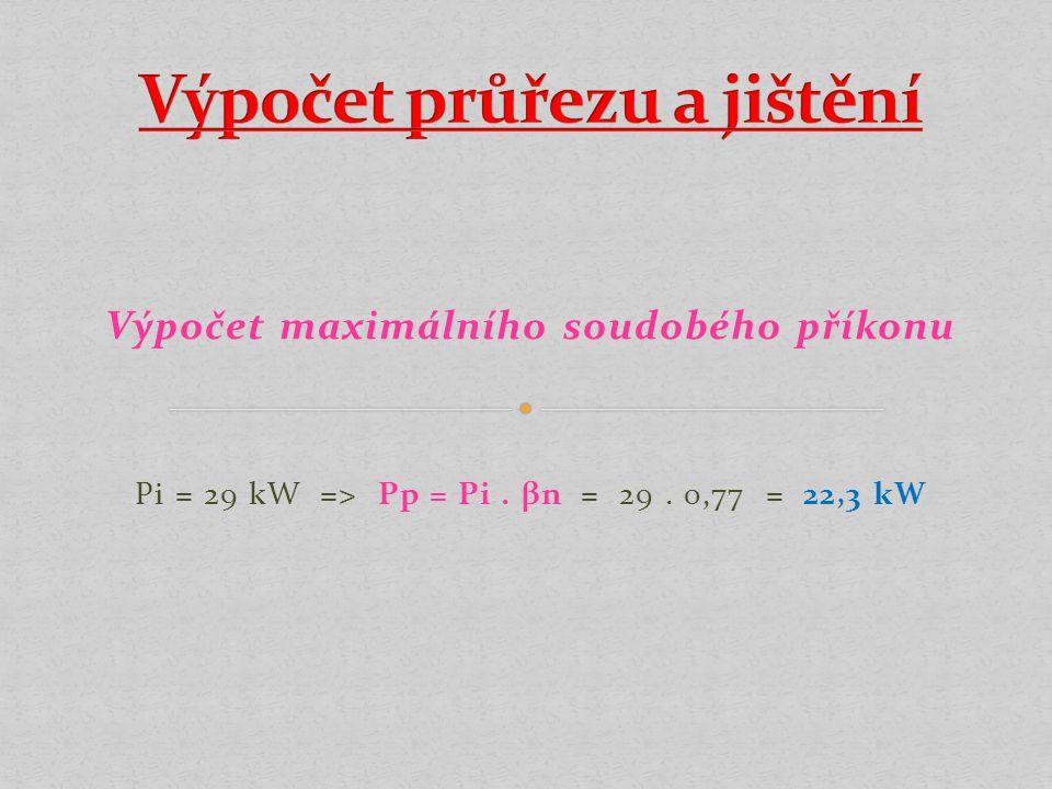 Výpočet maximálního soudobého příkonu Pi = 29 kW => Pp = Pi. βn = 29. 0,77 = 22,3 kW