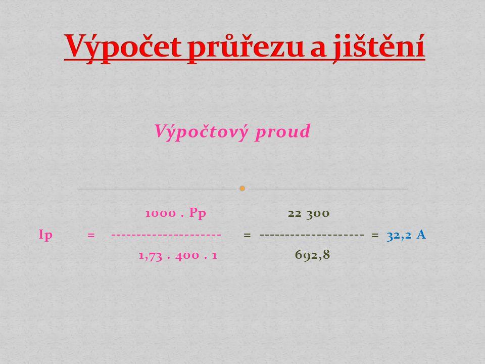 Výpočtový proud 1000.Pp 22 300 Ip = --------------------- = -------------------- = 32,2 A 1,73.