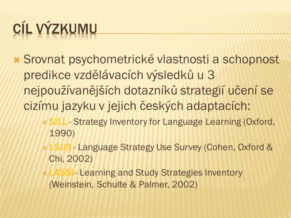  Srovnat psychometrické vlastnosti a schopnost predikce vzdělávacích výsledků u 3 nejpoužívanějších dotazníků strategií učení se cizímu jazyku v jejich českých adaptacích:  SILL - Strategy Inventory for Language Learning (Oxford, 1990)  LSUS - Language Strategy Use Survey (Cohen, Oxford & Chi, 2002)  LASSI - Learning and Study Strategies Inventory (Weinstein, Schulte & Palmer, 2002)