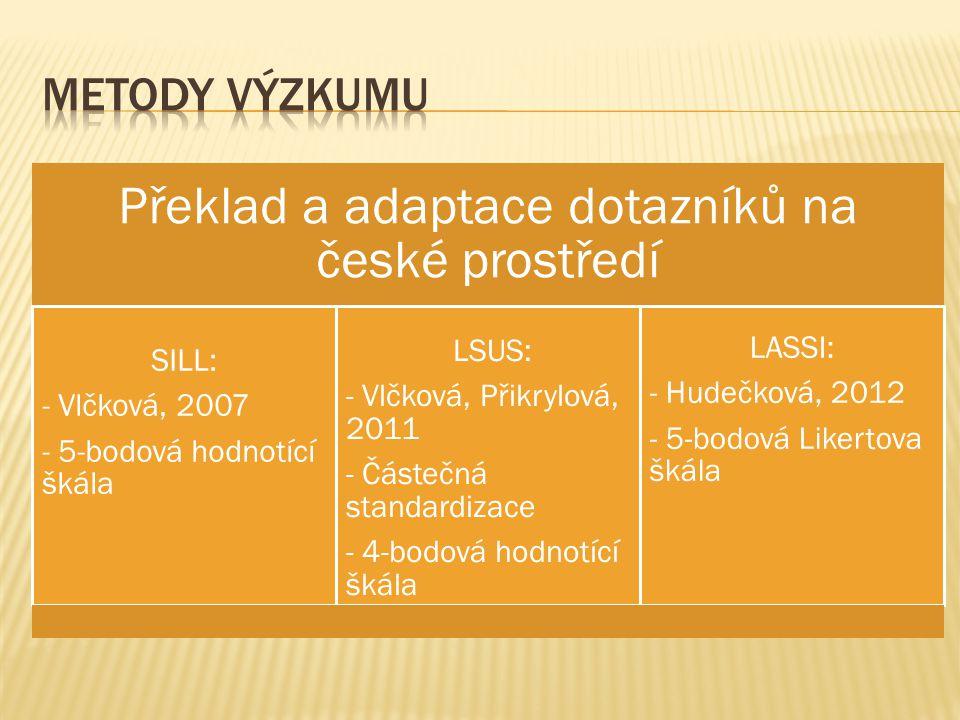 Překlad a adaptace dotazníků na české prostředí SILL: - Vlčková, 2007 - 5-bodová hodnotící škála LSUS: - Vlčková, Přikrylová, 2011 - Částečná standardizace - 4-bodová hodnotící škála LASSI: - Hudečková, 2012 - 5-bodová Likertova škála