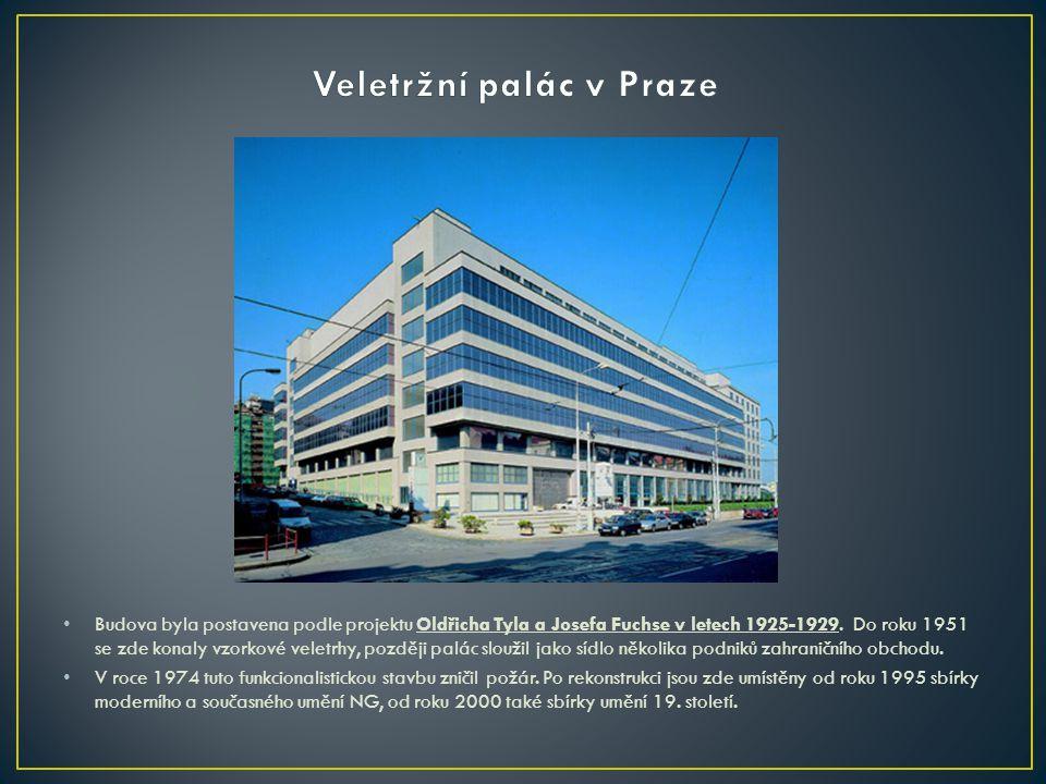 • Budova byla postavena podle projektu Oldřicha Tyla a Josefa Fuchse v letech 1925-1929. Do roku 1951 se zde konaly vzorkové veletrhy, později palác s