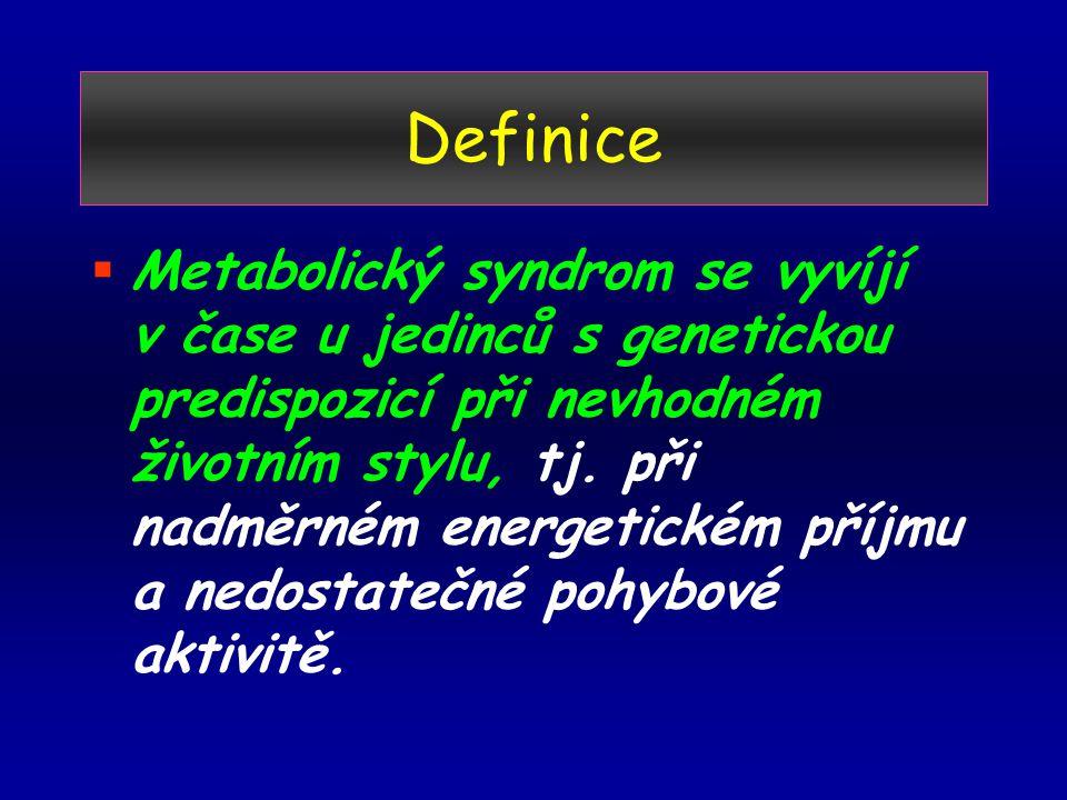 Definice  Metabolický syndrom se vyvíjí v čase u jedinců s genetickou predispozicí při nevhodném životním stylu, tj.