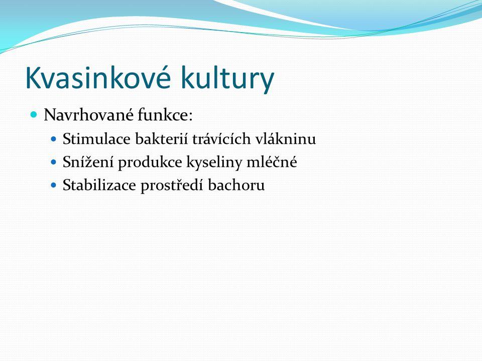 Kvasinkové kultury  Navrhované funkce:  Stimulace bakterií trávících vlákninu  Snížení produkce kyseliny mléčné  Stabilizace prostředí bachoru