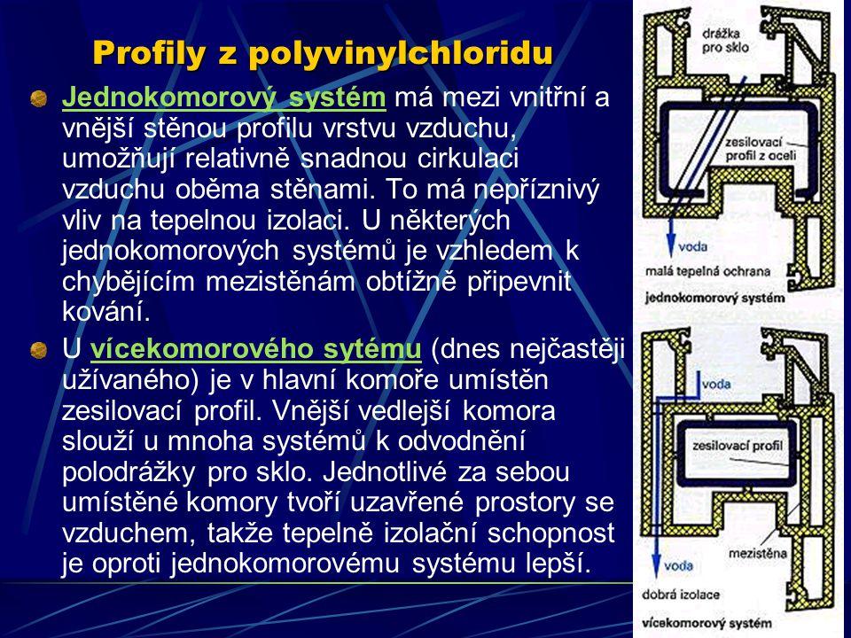 Profily z polyvinylchloridu Pevnost v tahu se u tohoto plastu pohybuje mezi 3,5 N/mm 2 a 5,0 N/mm 2, tepelná vodivost mezi 0,14 W/(m.K) a 0,20 W/(m.K)