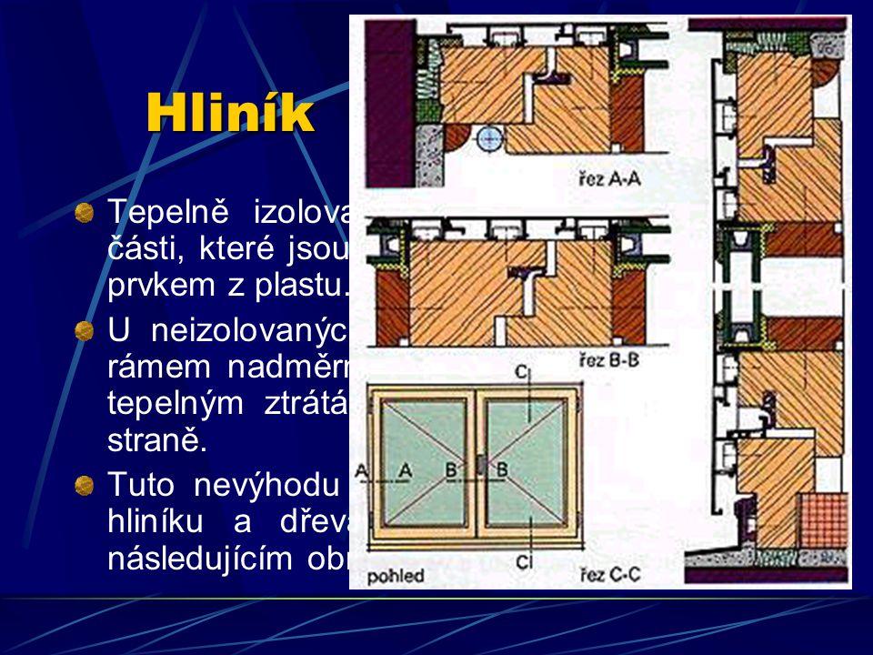 Hliník Hliníkové profily se zpravidla vyrábějí pomocí výtlačných hubic. Tloušťka stěn se pohybuje mezi 2,5 a 5,0 mm. Profily mohou být opatřeny tepeln