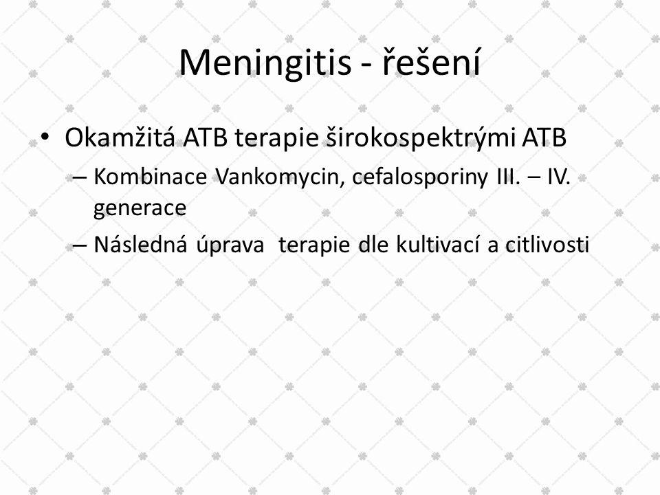 Meningitis - řešení • Okamžitá ATB terapie širokospektrými ATB – Kombinace Vankomycin, cefalosporiny III. – IV. generace – Následná úprava terapie dle