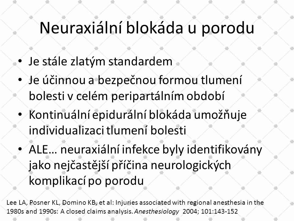 Neuraxiální blokáda u porodu • Je stále zlatým standardem • Je účinnou a bezpečnou formou tlumení bolesti v celém peripartálním období • Kontinuální e