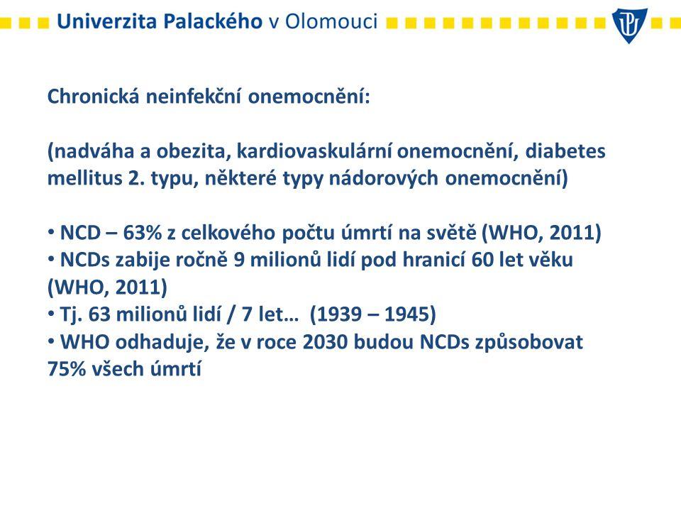 Chronická neinfekční onemocnění: situace v ČR Celkově trpí nadváhou nebo obezitou 54% dospělé populace, 17% dospělé populace je obézní (Sassi, 2010; ÚZIS, 2011).