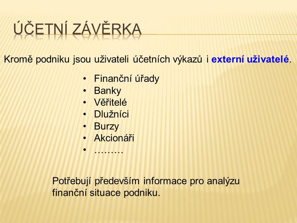 Kromě podniku jsou uživateli účetních výkazů i externí uživatelé. •Finanční úřady •Banky •Věřitelé •Dlužníci •Burzy •Akcionáři •……… Potřebují předevší