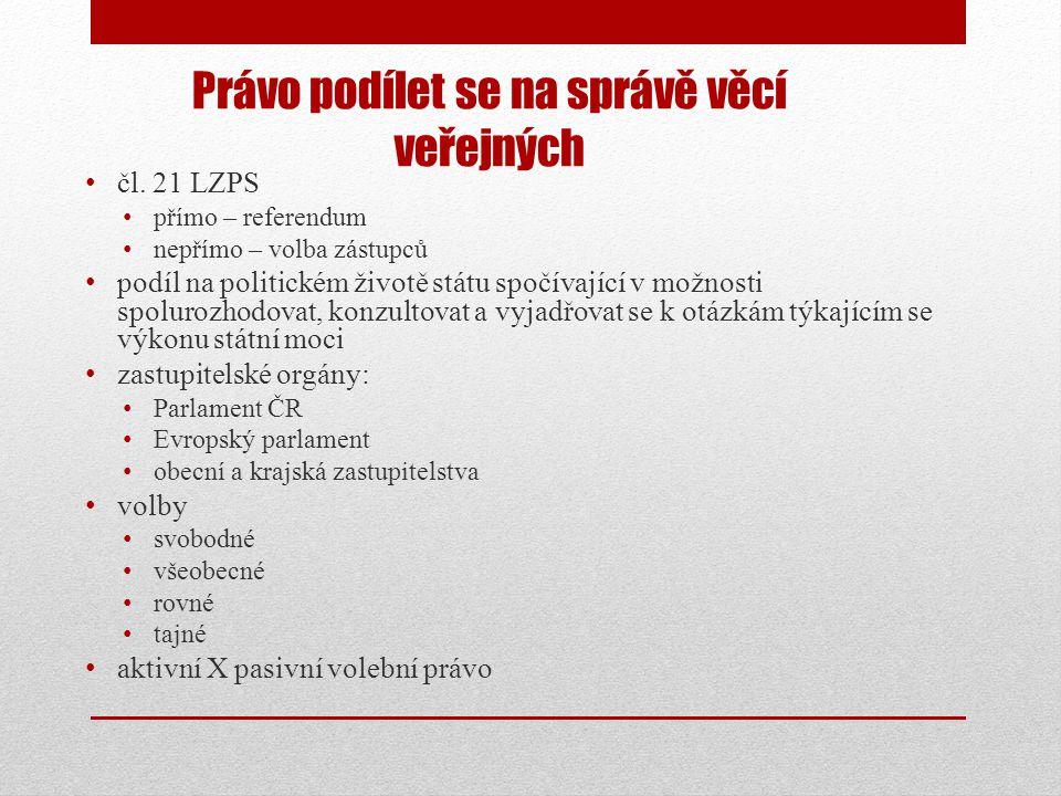 Právo podílet se na správě věcí veřejných • čl.