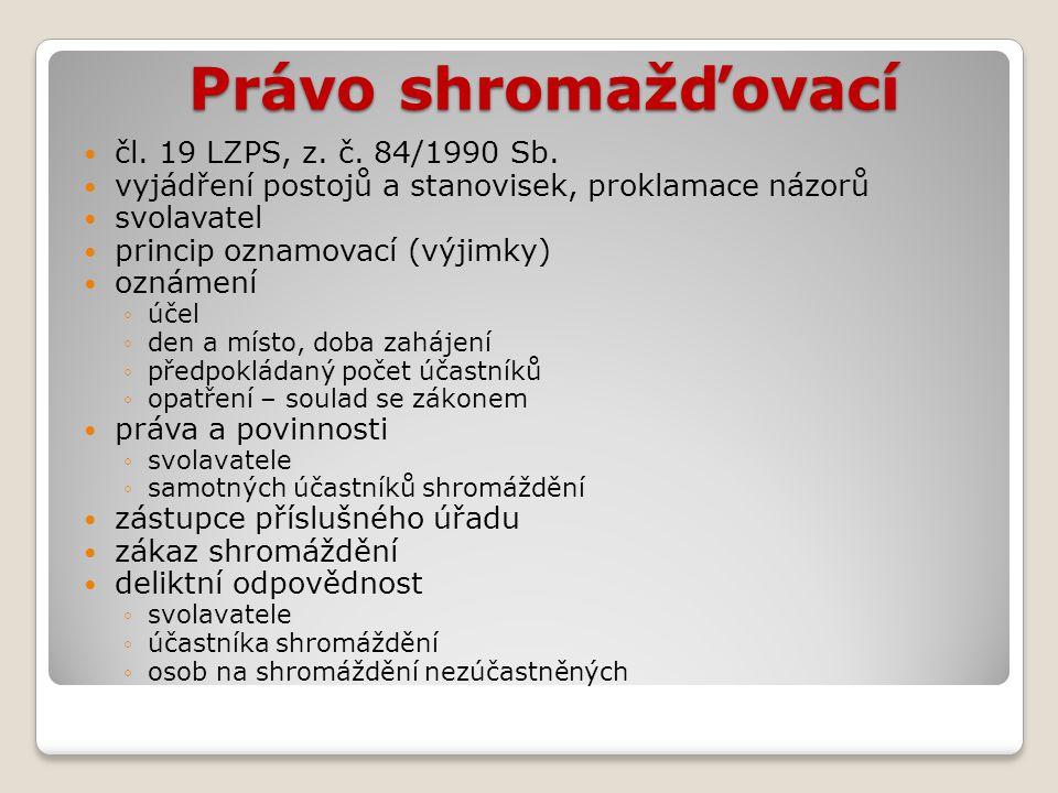 Právo sdružovací (spolčovací)  čl.20 LZPS, z. č.