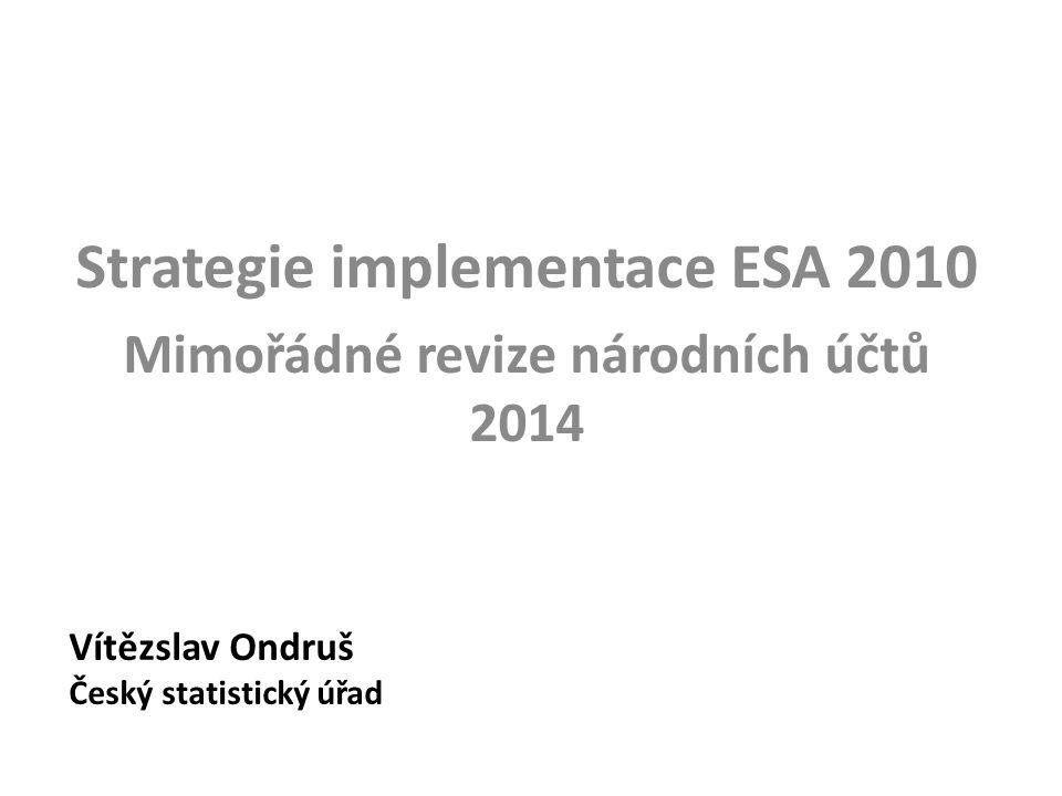Změny v revizní politice národních účtů (4) Nová politika revizí - notifikace vládního deficitu a dluhu: • Jarní (první) notifikace vládního deficitu a dluhu (EDP1, T+3) – plně sladěno s RNÚq – případné výhrady EK v dubnu se promítnou pouze do EDP1 a až v září do RNÚp ( => EDP1 nebudou v období květen-září sladěny s RNÚq) • Podzimní (druhá) notifikace vládního deficitu a dluhu (EDP2, T+9) – plně sladěno s RNÚp – případné výhrady EK v říjnu promítnou pouze do EDP2 a až v březnu do RNÚs ( => EDP2 nebudou v období listopad-březen sladěny s RNÚp)