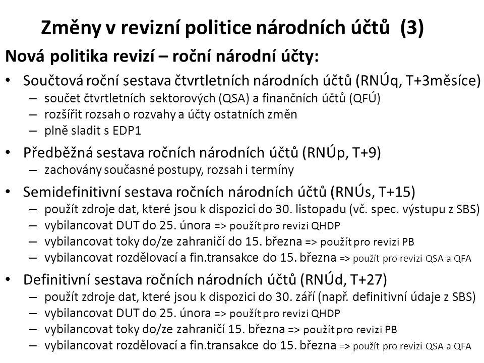 Změny v revizní politice národních účtů (3) Nová politika revizí – roční národní účty: • Součtová roční sestava čtvrtletních národních účtů (RNÚq, T+3