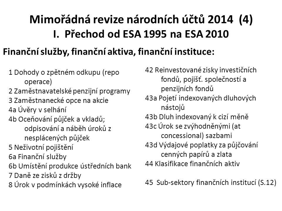 Mimořádná revize národních účtů 2014 (4) I. Přechod od ESA 1995 na ESA 2010 1 Dohody o zpětném odkupu (repo operace) 2 Zaměstnavatelské penzijní progr