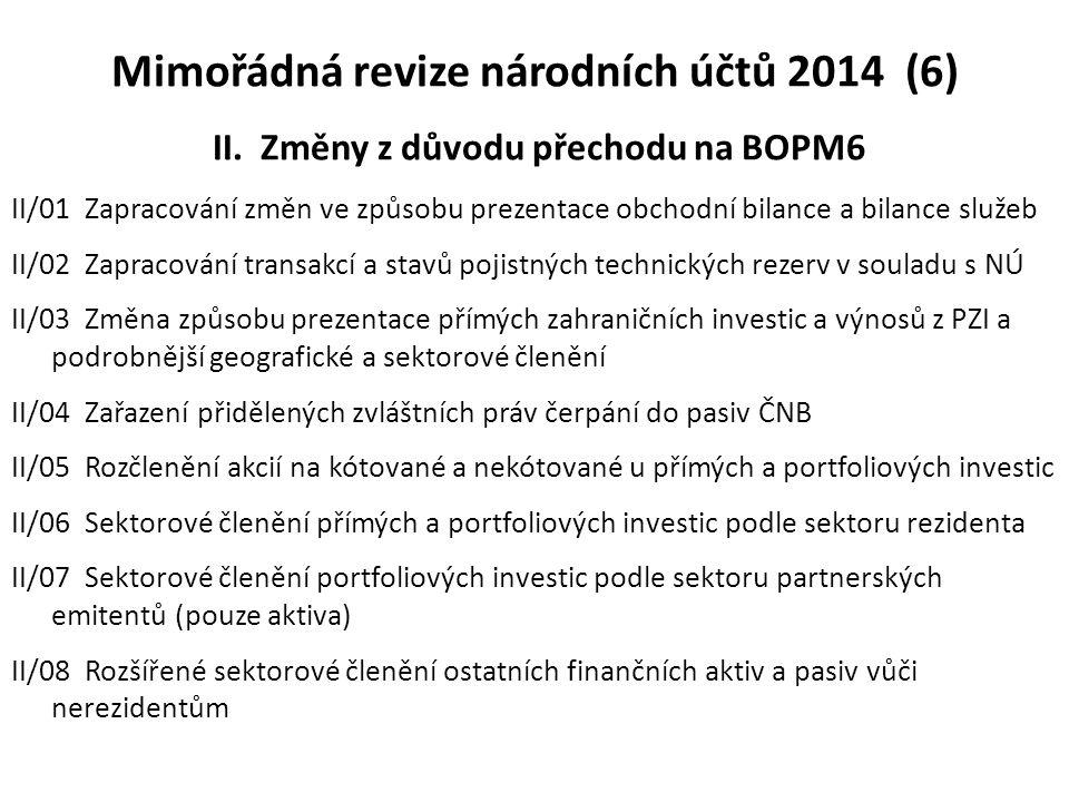 Mimořádná revize národních účtů 2014 (6) II. Změny z důvodu přechodu na BOPM6 II/01 Zapracování změn ve způsobu prezentace obchodní bilance a bilance