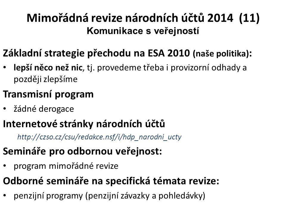 Základní strategie přechodu na ESA 2010 (naše politika) : • lepší něco než nic, tj. provedeme třeba i provizorní odhady a později zlepšíme Transmisní