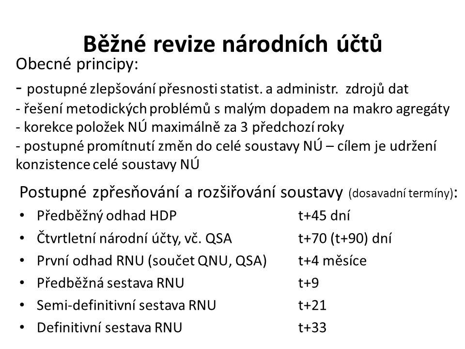 (příležitostné) • Obvykle u příležitosti nějaké významné změny v metodice nebo ve zdrojích dat • Obvykle větší zásah do makro agregátů • Soustřeďují se na dosažení metodického souladu údajů za celou časovou řadu Mimořádné revize národních účtů Dosavadní mimořádné revize národních účtů: • 1992 – přechod od bilancí národního hospodářství k SNÚ • 1999 – změna zdrojů dat • 2004 – sladění metodických postupů s požadavky ESA 1995 • 2006 – alokace FISIM, změny ve zdrojích dat, aj.