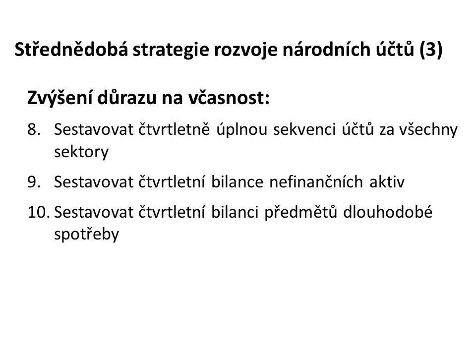Střednědobá strategie rozvoje národních účtů (3) Zvýšení důrazu na včasnost: 8.Sestavovat čtvrtletně úplnou sekvenci účtů za všechny sektory 9.Sestavo