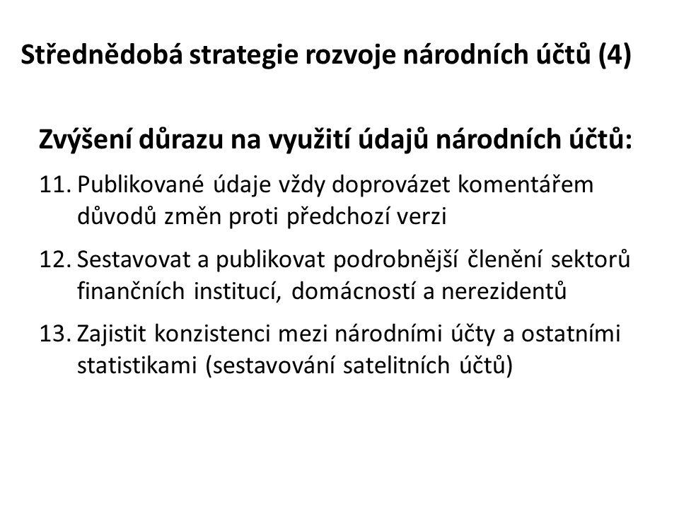 Změny v revizní politice národních účtů (1) Slabiny současné politiky revizí a publikování národních účtů ČSÚ: • Nekonzistence publikovaných údajů • Dlouhé termíny zveřejňování • Nedostatečná kvalita, struktura a úplnost čtvrtletních údajů Nové požadavky kladené na národní účty: • Koordinace zveřejňování národních účtů v zemích EU