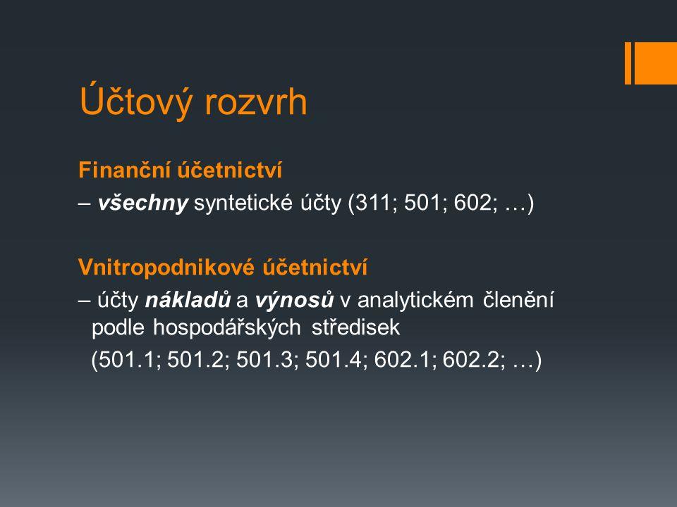 Účtový rozvrh Finanční účetnictví – všechny syntetické účty (311; 501; 602; …) Vnitropodnikové účetnictví – účty nákladů a výnosů v analytickém členění podle hospodářských středisek (501.1; 501.2; 501.3; 501.4; 602.1; 602.2; …)