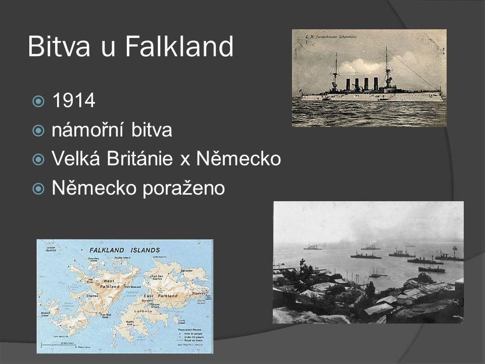 Bitva u Falkland  1914  námořní bitva  Velká Británie x Německo  Německo poraženo