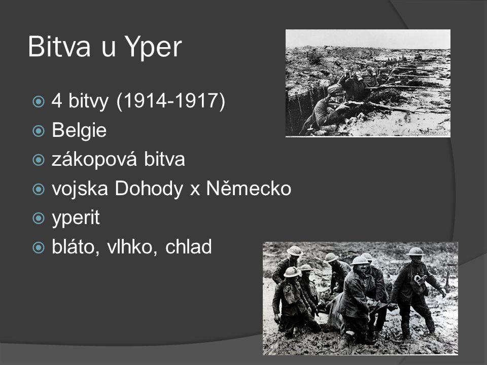 Bitva u Yper  4 bitvy (1914-1917)  Belgie  zákopová bitva  vojska Dohody x Německo  yperit  bláto, vlhko, chlad