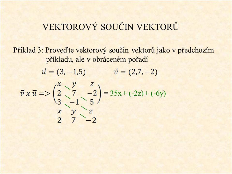 VEKTOROVÝ SOUČIN VEKTORŮ Příklad 3: Proveďte vektorový součin vektorů jako v předchozím příkladu, ale v obráceném pořadí = 35x+ (-2z)+ (-6y)