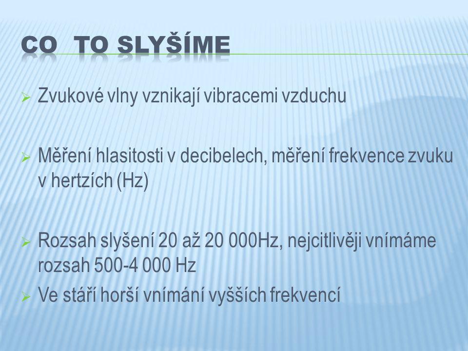  Zvukové vlny vznikají vibracemi vzduchu  Měření hlasitosti v decibelech, měření frekvence zvuku v hertzích (Hz)  Rozsah slyšení 20 až 20 000Hz, ne