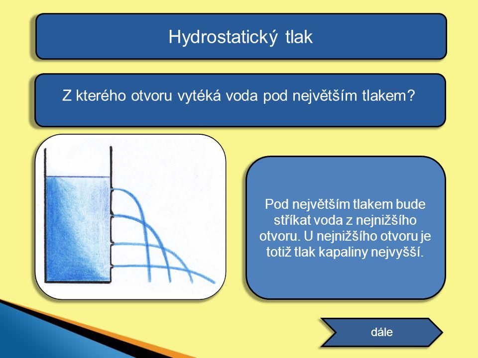 Hydrostatický tlak Z kterého otvoru vytéká voda pod největším tlakem? dále odpověď Pod největším tlakem bude stříkat voda z nejnižšího otvoru. U nejni