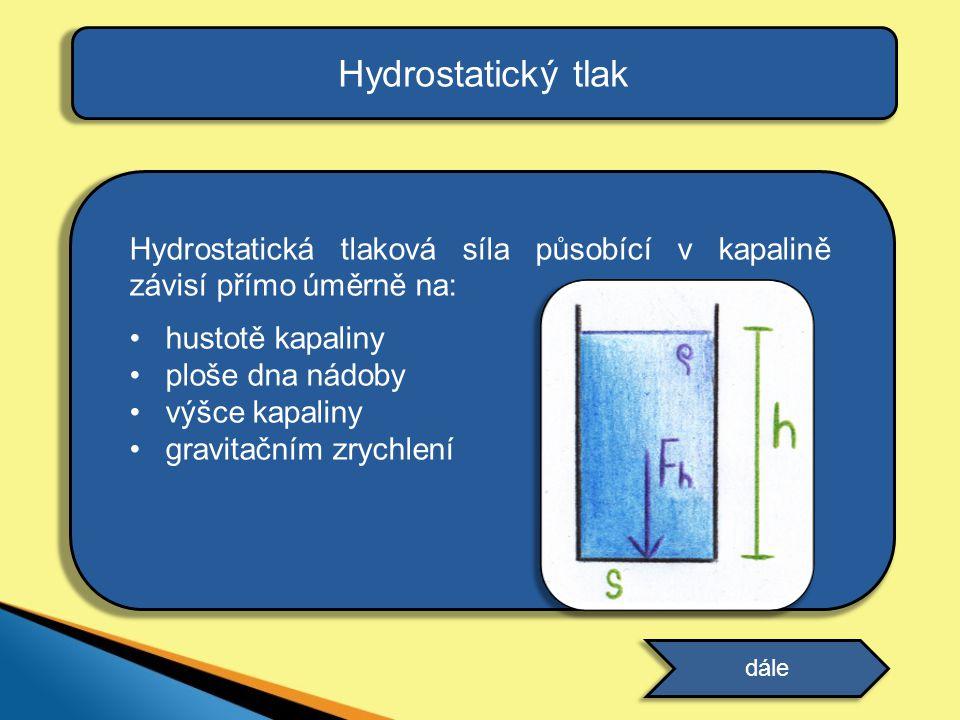 Hydrostatický tlak Hydrostatická tlaková síla působící v kapalině závisí přímo úměrně na: •hustotě kapaliny •ploše dna nádoby •výšce kapaliny •gravita
