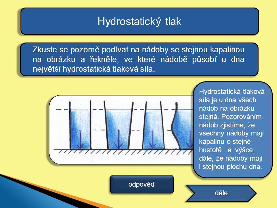 Hydrostatický tlak Zkuste se pozorně podívat na nádoby se stejnou kapalinou na obrázku a řekněte, ve které nádobě působí u dna největší hydrostatická