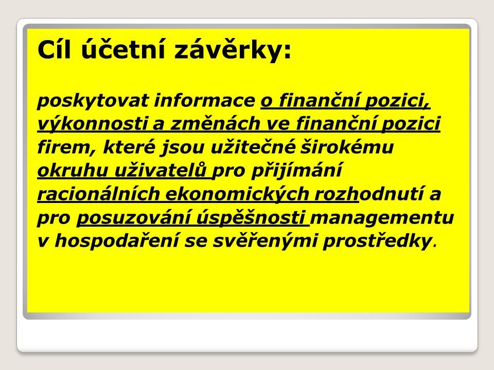 Cíl účetní závěrky: poskytovat informace o finanční pozici, výkonnosti a změnách ve finanční pozici firem, které jsou užitečné širokému okruhu uživate