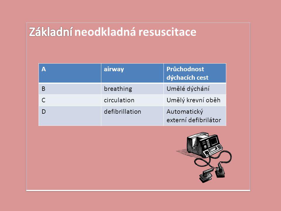AairwayPrůchodnost dýchacích cest BbreathingUmělé dýchání CcirculationUmělý krevní oběh DdefibrillationAutomatický externí defibrilátor