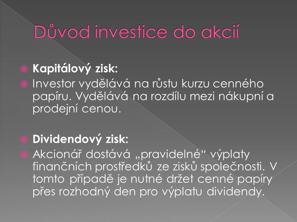  Kapitálový zisk:  Investor vydělává na růstu kurzu cenného papíru. Vydělává na rozdílu mezi nákupní a prodejní cenou.  Dividendový zisk:  Akcioná