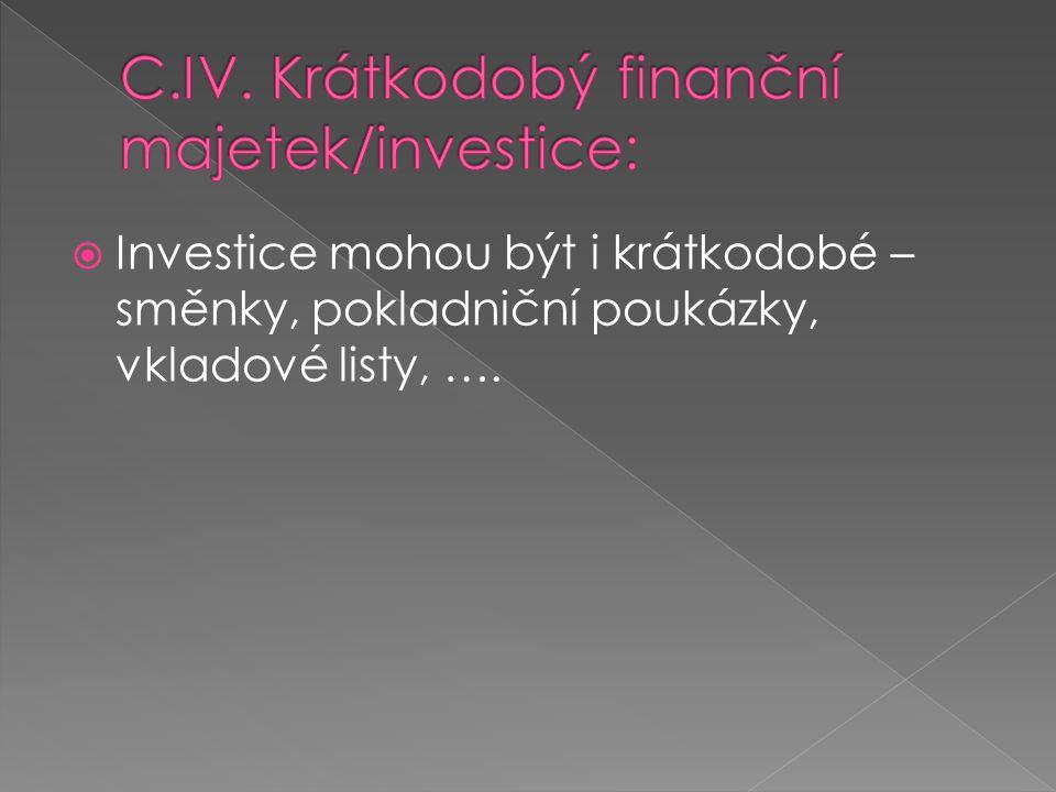  Investice mohou být i krátkodobé – směnky, pokladniční poukázky, vkladové listy, ….