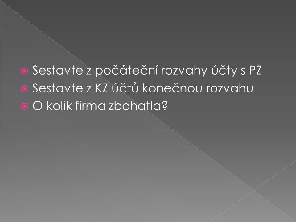  Sestavte z počáteční rozvahy účty s PZ  Sestavte z KZ účtů konečnou rozvahu  O kolik firma zbohatla?