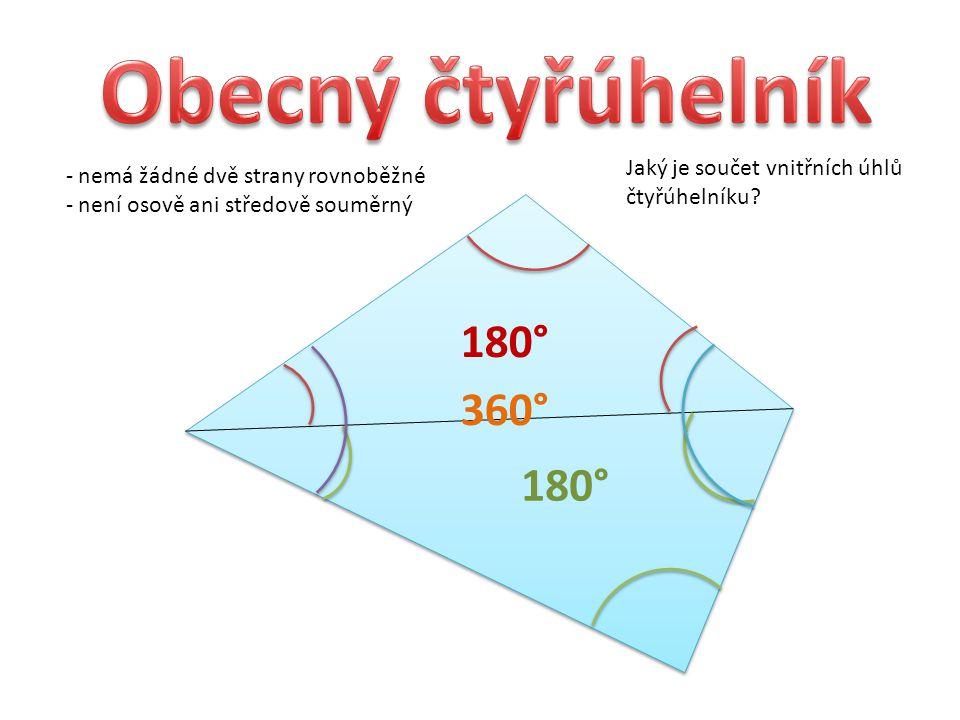 - nemá žádné dvě strany rovnoběžné - není osově ani středově souměrný Jaký je součet vnitřních úhlů čtyřúhelníku.