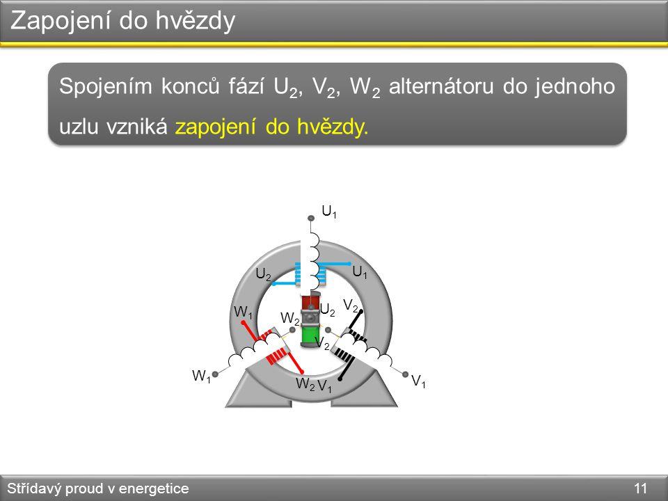 Zapojení do hvězdy Střídavý proud v energetice 11 Spojením konců fází U 2, V 2, W 2 alternátoru do jednoho uzlu vzniká zapojení do hvězdy. U1U1 U2U2 V