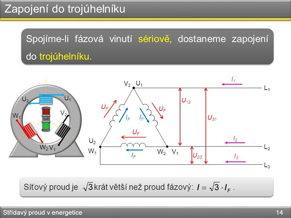 Zapojení do trojúhelníku Střídavý proud v energetice 14 W1W1 L1L1 L2L2 L3L3 U 12 U 31 U 23 Spojíme-li fázová vinutí sériově, dostaneme zapojení do tro