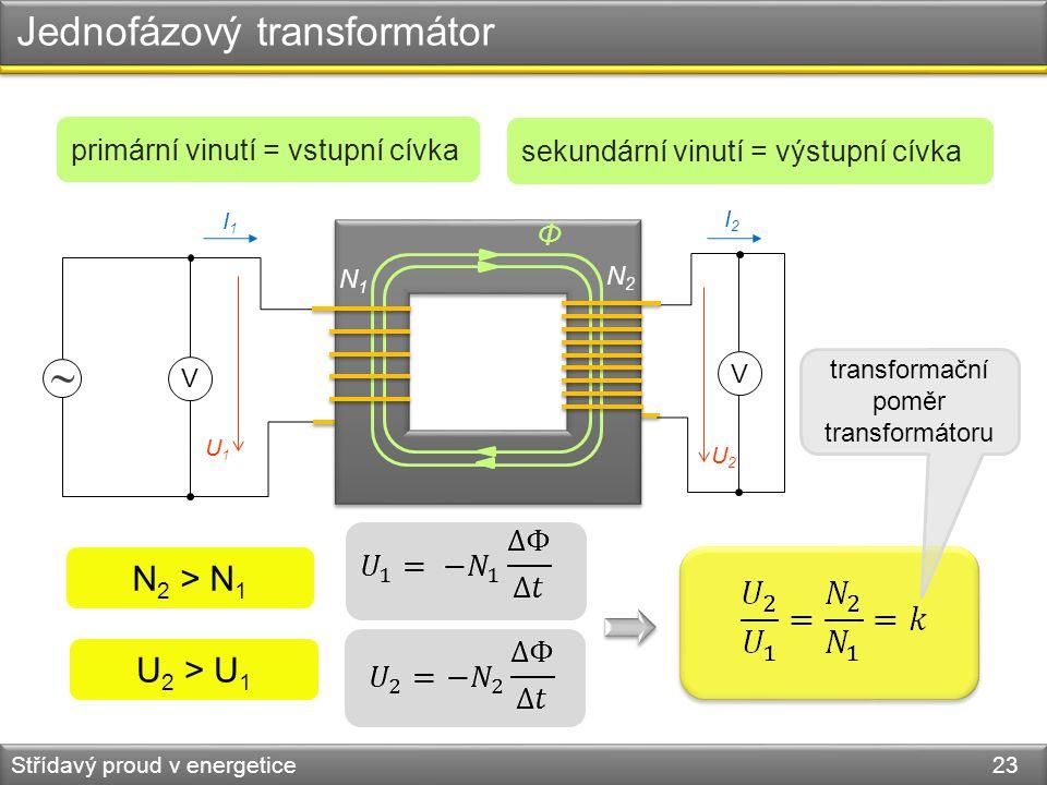 Jednofázový transformátor Střídavý proud v energetice 23  V V N1N1 N2N2 Φ U2U2 U1U1 I2I2 I1I1 U 2 > U 1 N 2 > N 1 primární vinutí = vstupní cívka sek