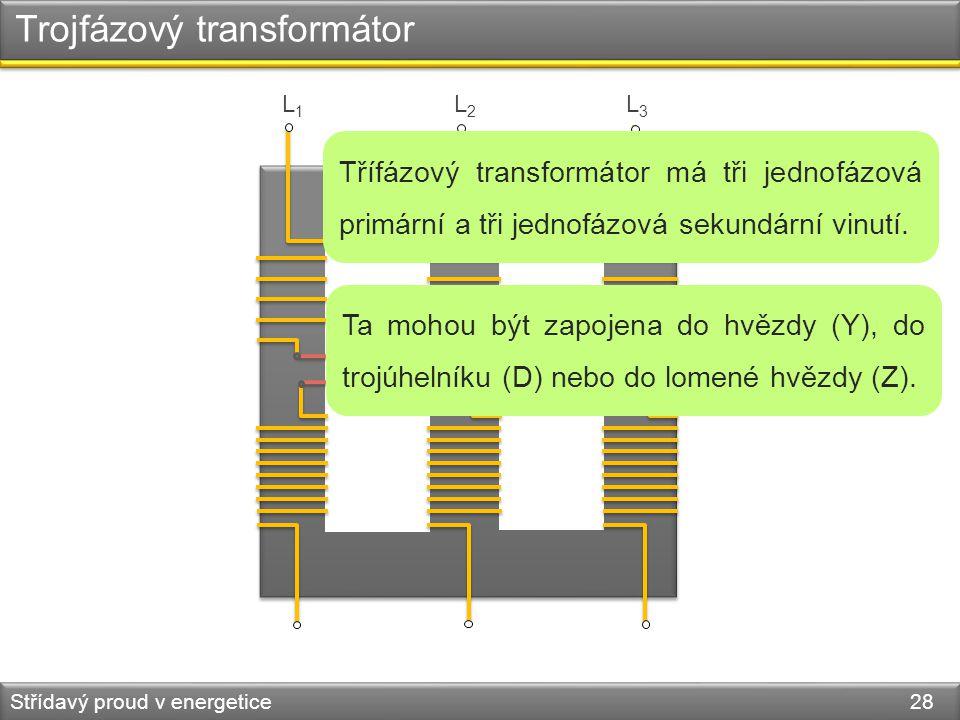 Trojfázový transformátor Střídavý proud v energetice 28 L1L1 L2L2 L3L3 Třífázový transformátor má tři jednofázová primární a tři jednofázová sekundárn