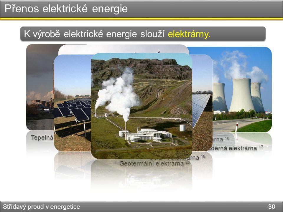 Přenos elektrické energie Střídavý proud v energetice 30 K výrobě elektrické energie slouží elektrárny. Tepelná elektrárna 15 Vodní elektrárna 16 Jade