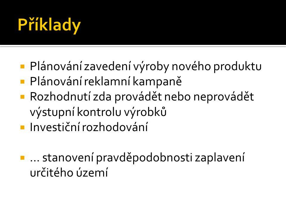  Plánování zavedení výroby nového produktu  Plánování reklamní kampaně  Rozhodnutí zda provádět nebo neprovádět výstupní kontrolu výrobků  Investi