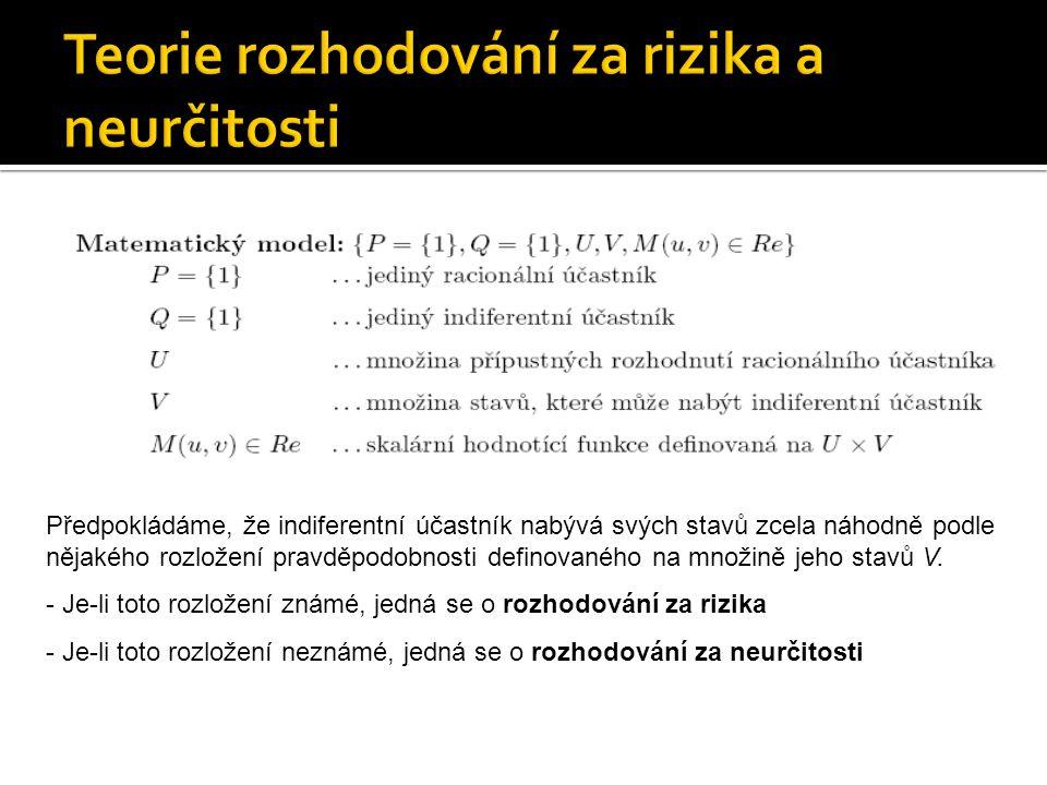  Náhodný výsledek rozhodovací situace (u,v)  Racionální účastník nemůže s použitím hodnotící funkce M(u,v) předem jednoznačně stanovit efekt přijetí konkrétního rozhodnutí u  U.