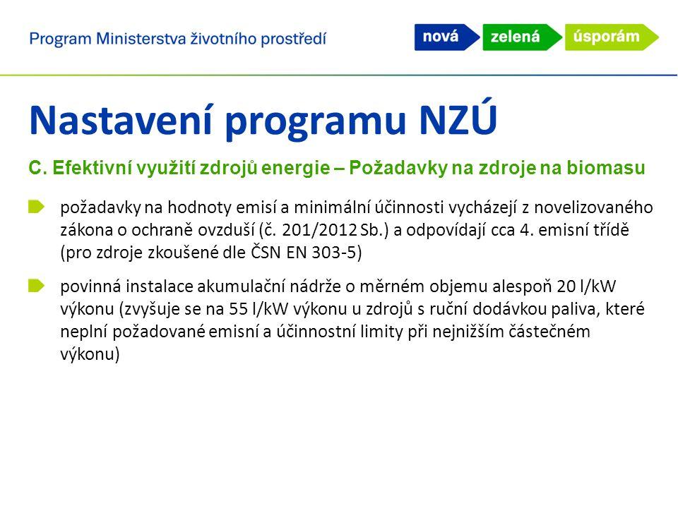 Nastavení programu NZÚ C. Efektivní využití zdrojů energie – Požadavky na zdroje na biomasu požadavky na hodnoty emisí a minimální účinnosti vycházejí