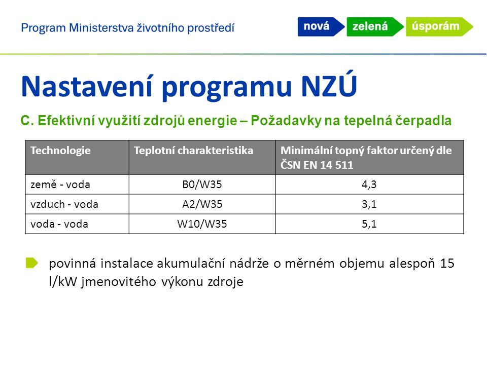 Nastavení programu NZÚ C. Efektivní využití zdrojů energie – Požadavky na tepelná čerpadla povinná instalace akumulační nádrže o měrném objemu alespoň