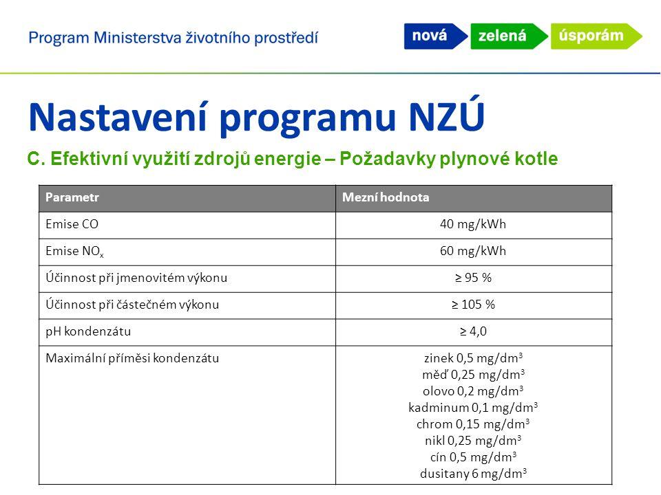 Nastavení programu NZÚ C. Efektivní využití zdrojů energie – Požadavky plynové kotle ParametrMezní hodnota Emise CO40 mg/kWh Emise NO x 60 mg/kWh Účin